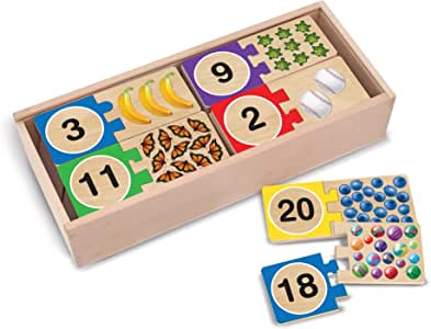 Melissa & Doug 2542 Self-Correcting Wooden Number Puzzles with Storage Box (40 pcs)