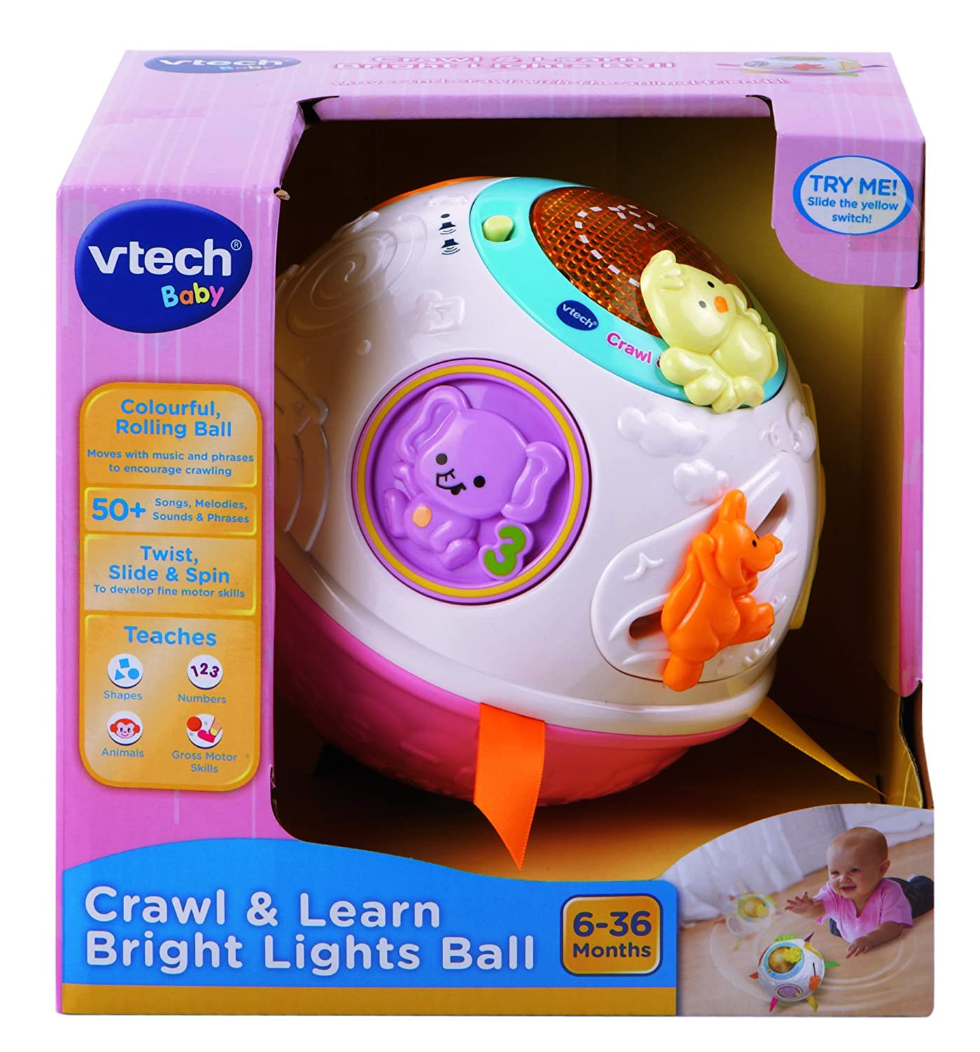 VTech Baby Crawl and Learn Lights Ball White and Pink Amazon