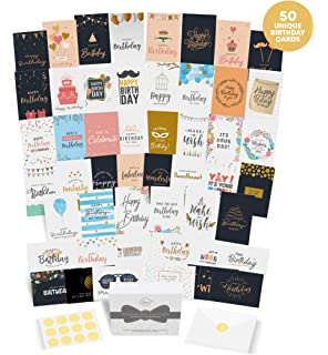 50 UNIQUE BIRTHDAY CARDS Assortment With GENERIC GREETINGS ON THE INSIDE