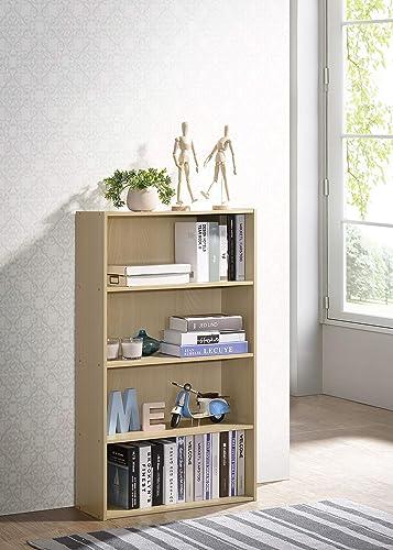 Fortress 4-Tier Open Shelf Bookcase Beech
