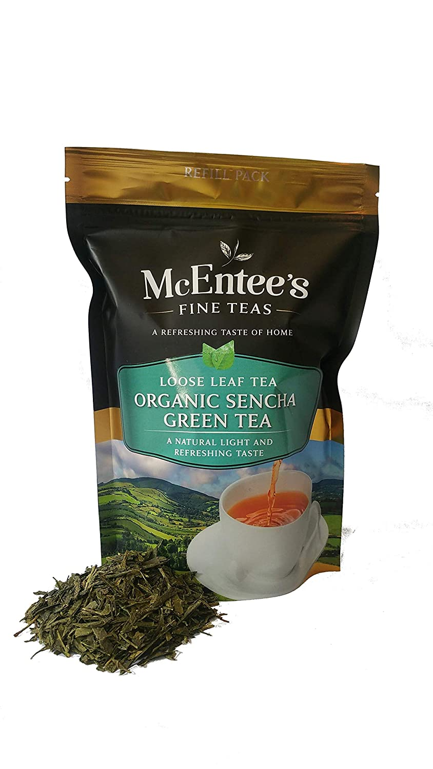 McEntees Organic Sencha Green Tea - 150g Refill Bag ...
