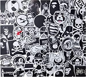 Black-and-White Sticker Vinyls Decals for Laptop,Kids,Cars,Motorcycle,Bicycle,Skateboard Luggage,Bumper Stickers Hippie Decals Bomb Waterproof(No-Repeat/Not Random) (C-100PCS)…