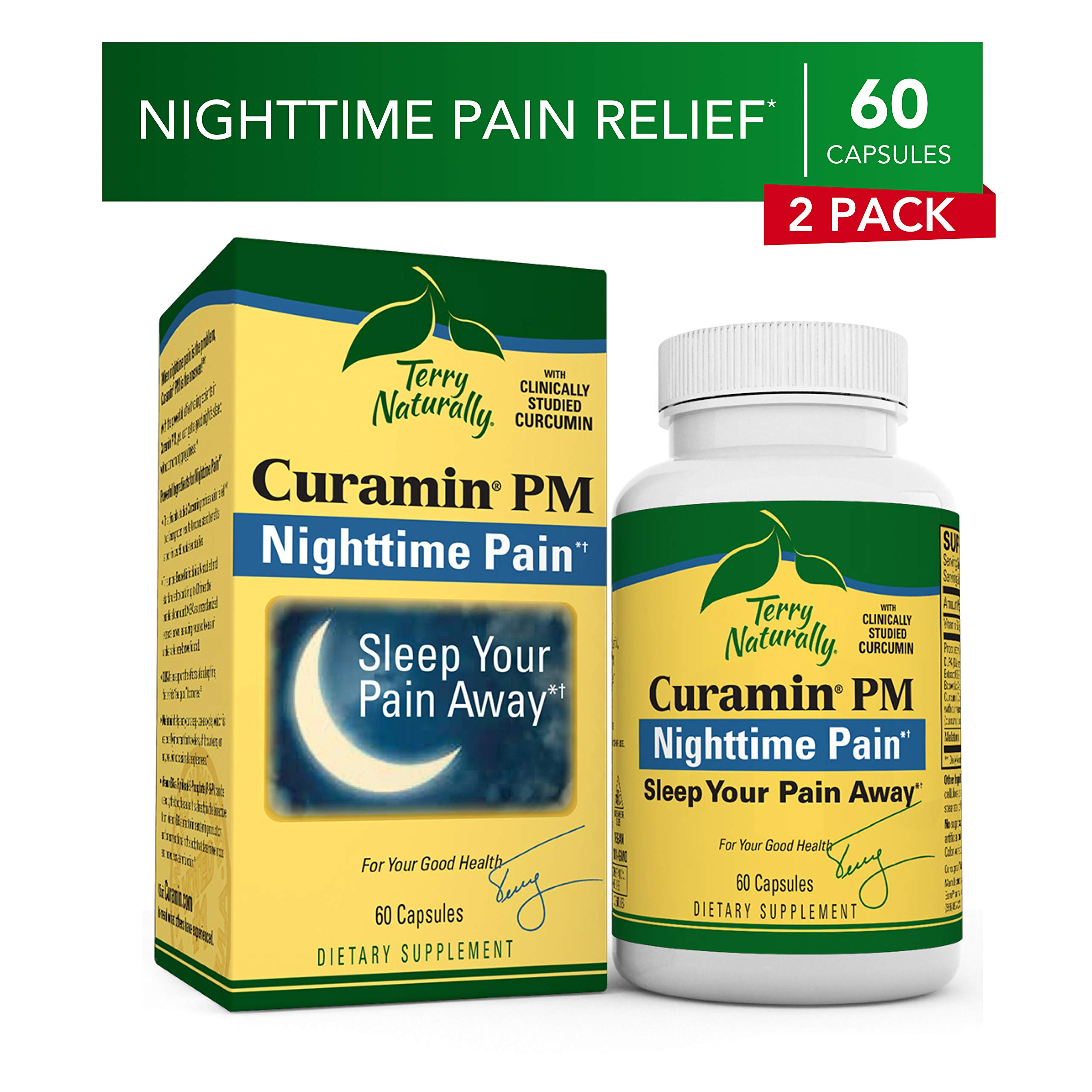 Terry Naturally Curamin PM (2 Pack) - 60 Vegan Capsules - Non-Habit Forming Nighttime Pain Relief Supplement, Contains Curcumin & Melatonin - Non-GMO, Gluten-Free, Kosher - 60 Total Servings