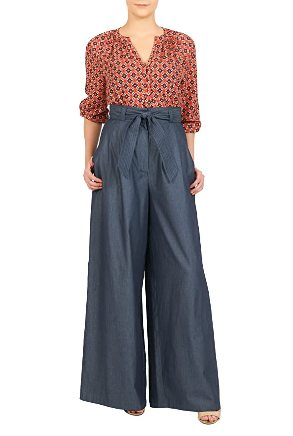 1940s Style Pants & Overalls- Wide Leg, High Waist High waist chambray palazzo pants $54.95 AT vintagedancer.com