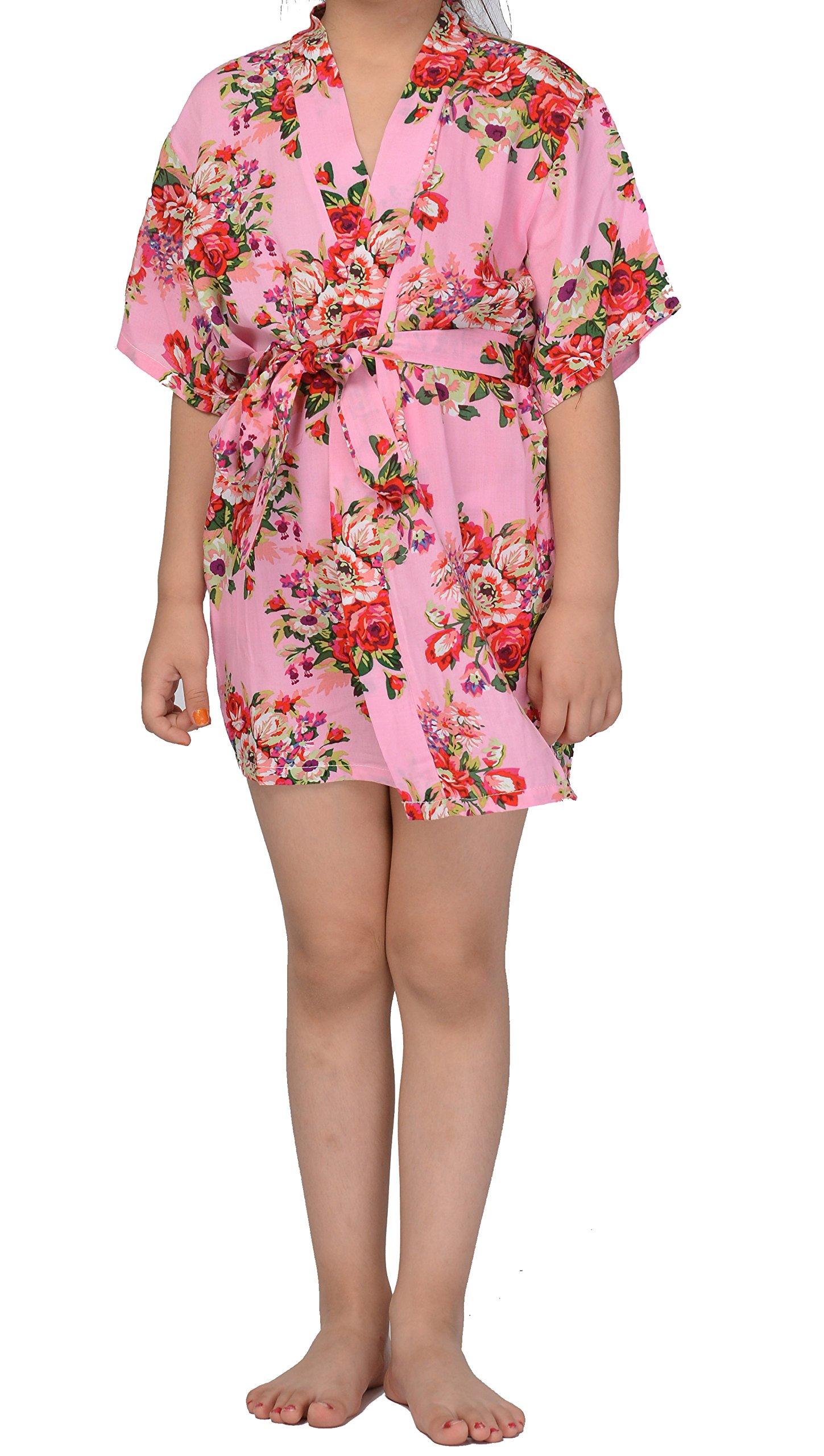 Juntian Girs' Cotton Floral Kimono Robe,Flower Girl and Junior Bridesmaid Getting Ready Robe