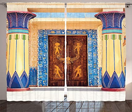 Ambesonne Egyptian Curtains Ancient Egyptian Building With Carving And Pattern On Old Religious Heritage Art