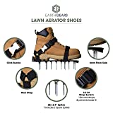 """Earthgears [2019 Upgraded Model] Lawn Aerator Shoes Fully Assembled E-Z FIT Strap System, Heel Support, 2.4"""" Spikes.2"""" Hardened Soles Bonus- 3 Shovels, 1 Pair of Bamboo Gloves, Extra Spikes"""