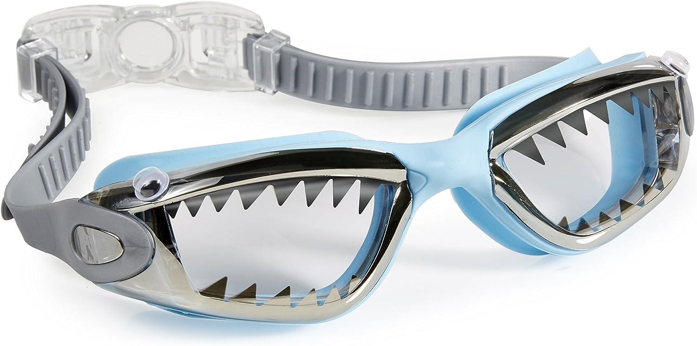 Bling 2O Kids Swimming Goggles - Light Blue Shark Teeth Swim Goggles for Boys - Anti Fog, No Leak, Non Slip, UV Protection with Hard Travel Case - 8+