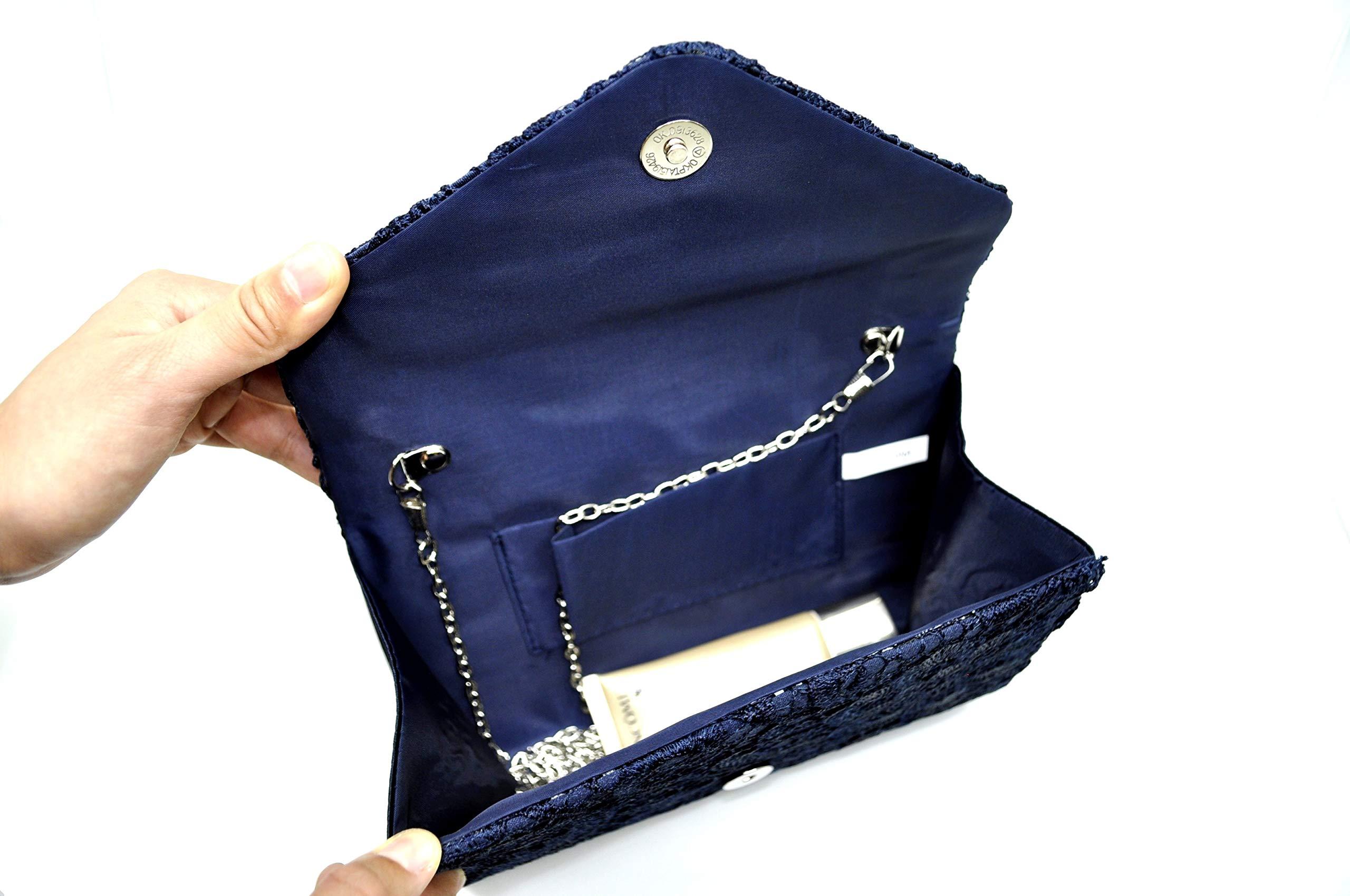 Nodykka Wedding Pleated Floral Lace Clutches Bag Evening Cross Body Handbags Purse by Nodykka (Image #4)