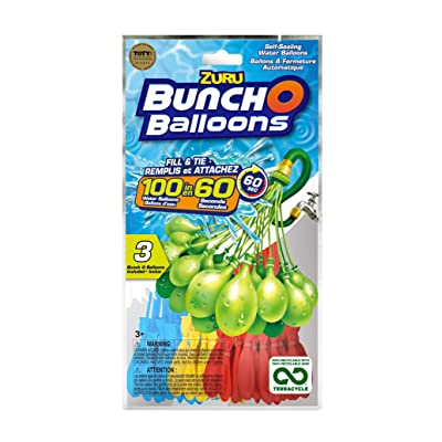 Bunch O Balloons, 100 Self-Sealing Water Balloons in 3 Bunches (Assorted Colors): Toys & Games [5Bkhe0703177]