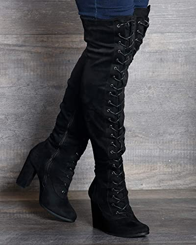 c860a6d751c Image Unavailable. Image not available for. Color  Refresh Women s MYRA Lace  Up Over The Knee Boot ...