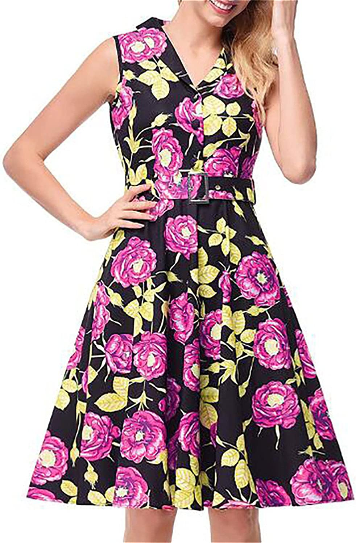 YUELANDE-Women 1950s Retro Vintage Floral Print Belted Cocktail Party Swing Tank Dress Multicolor