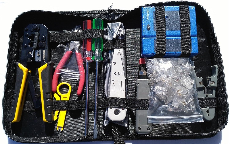 UbiGear Cable Tester +Crimp Crimper + 100 pcs RJ45 CAT5e Connector Plug Network Tool Kits (Premium568)