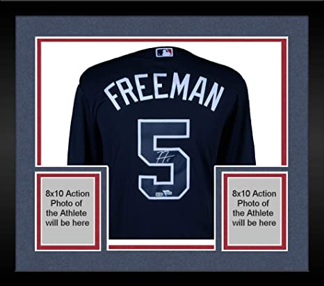c58014129783b Image Unavailable. Image not available for. Color  Framed Freddie Freeman  Atlanta Braves Autographed Majestic Replica Navy Jersey - Fanatics Authentic  ...