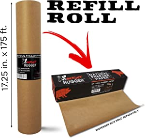 Natural Freezer Paper Refill Roll For Dispenser Box (17.25 Inch x 175 Feet) - Poly Coated Moisture Resistant Wrap with Matte Side for Freezing Meats, Protects Against Freezer Burn