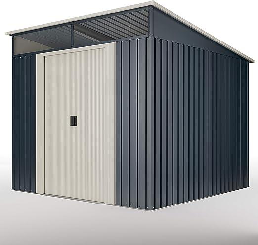 wasabi Stark Cobertizo Jardin, Caseta metálica Gris 6, 6 m2 279x238x203cm Garantía 10años: Amazon.es: Jardín