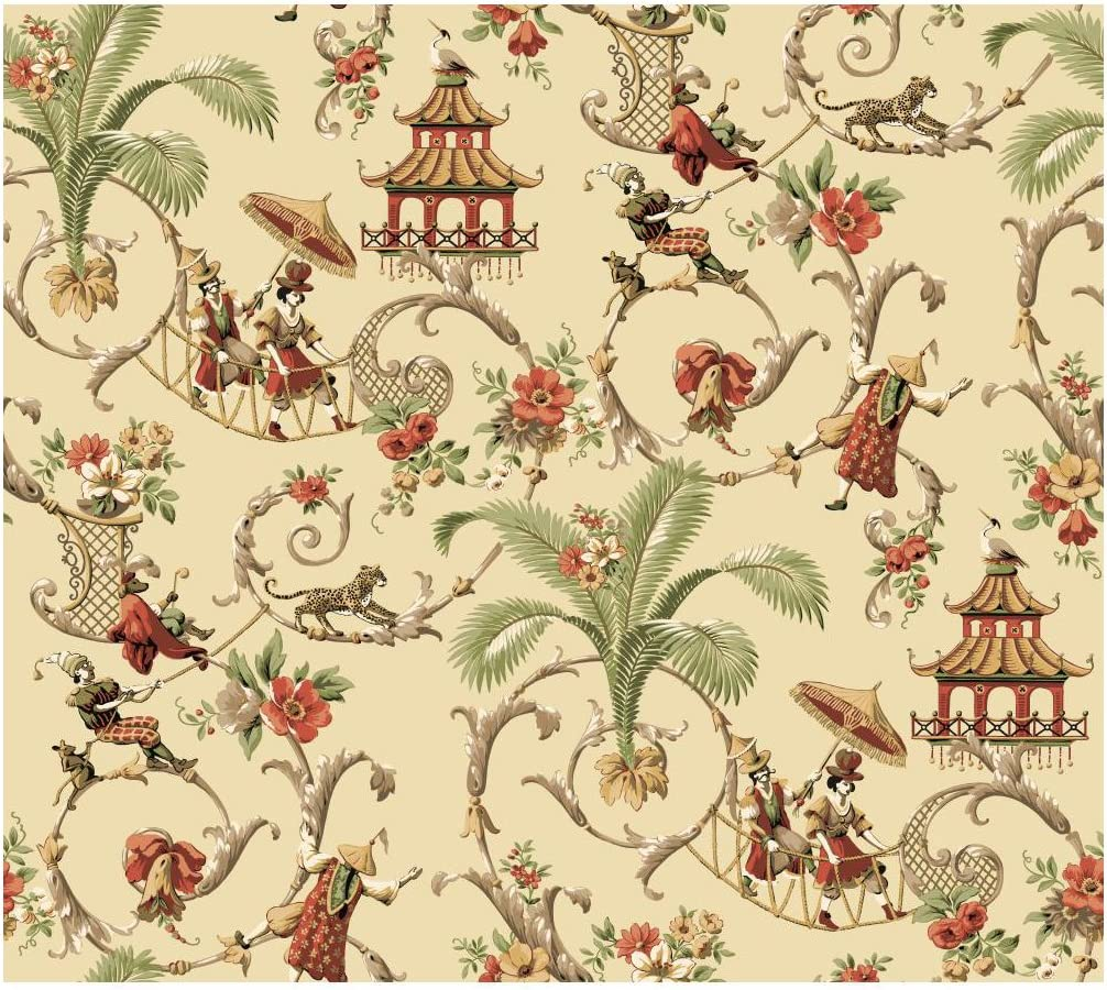 Wallpaper Designer Asian Pagoda Cream Taupe Gray Large Floral Scroll on Black