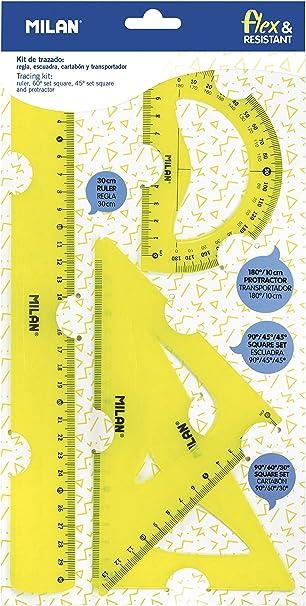 Milan Kit de trazado con regla 30cm, escuadra, cartabón y transportador, amarillo NUEVO: Amazon.es: Oficina y papelería