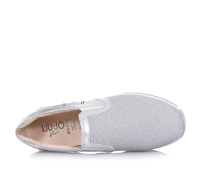 LIU JO - Scarpa argentata in pelle e glitter a7257e18d79