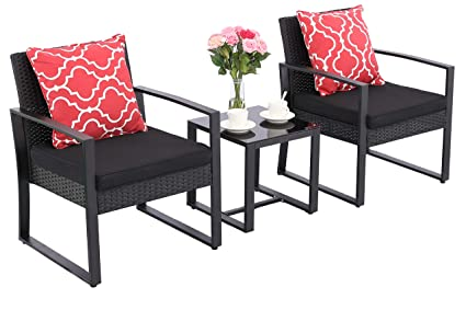 Outstanding Do4U 3 Pieces Patio Furniture Set Outdoor Wicker Conversation Set Cushioned Pe Wicker Bistro Set Rattan Chairs With Coffee Table Porch Backyard Home Interior And Landscaping Ponolsignezvosmurscom