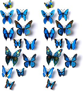 Amaonm 24pcs 3D Vivid Special Man-Made Lively Butterfly Art DIY Decor Wall Stickers Decals Nursery Decoration, Bathroom Décor, Office Décor, 3D Wall Art, 3D Crafts for Wall Art Kids Room Bedroom Blue