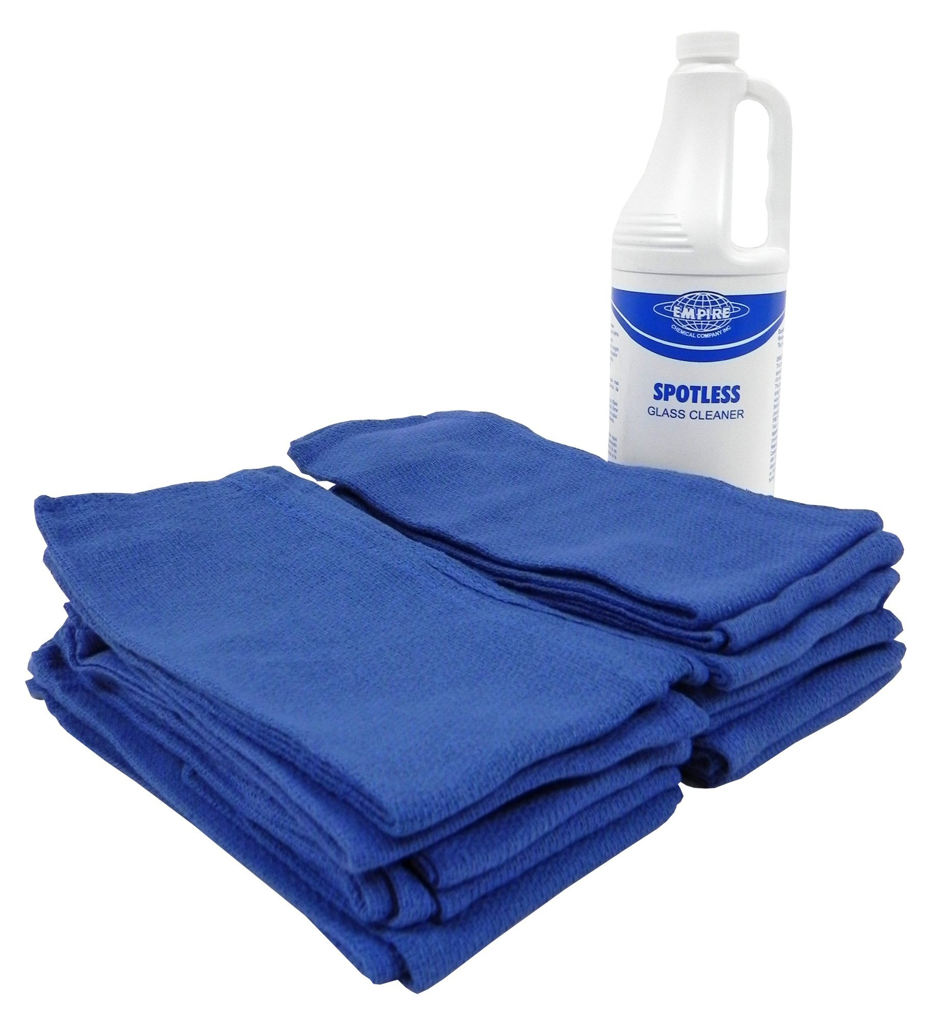 Blue Surgical Rags/Towels 16''x24'' - (1 Dozen) with Ready to Use Glass & Window Cleaner and Sprayer for Streak Free Cleaning