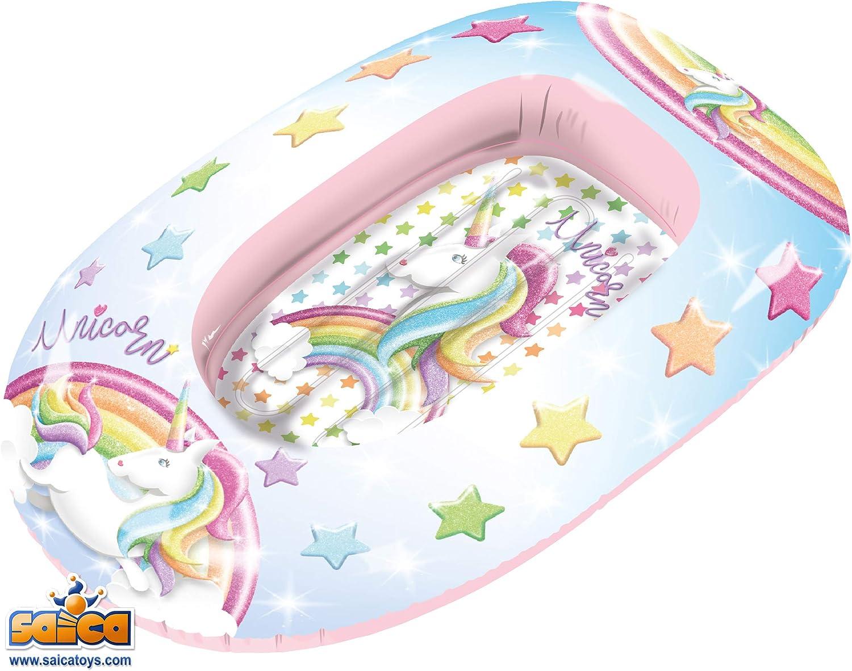 Saica Barca Hinchable para niños Unicornio. Playa y Piscina. Colchoneta, Multicolor (2813): Amazon.es: Juguetes y juegos