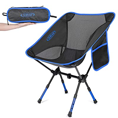 G4Free Upgraded Height Adjustable Camping Chairs, Portable Ultralight Folding Backpacking Chair Heavy Duty for Outdoor, Hiking, Picnic, BBQ with Carry Bag (Dark Blue) : Sports & Outdoors