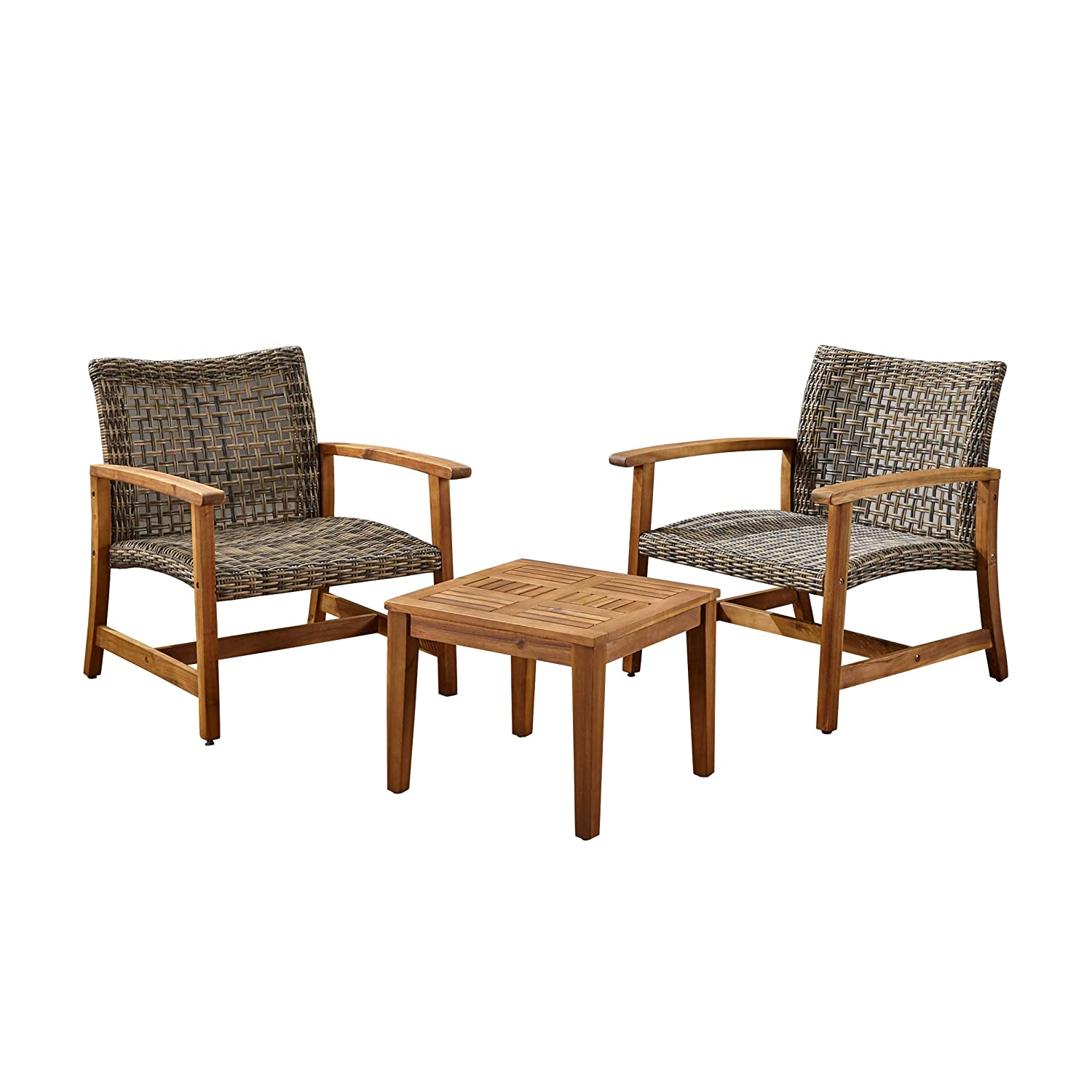 Great Deal Furniture Alyssa Outdoor 3 Piece Wood and Wicker Club Chairs and Side Table Set, Gray
