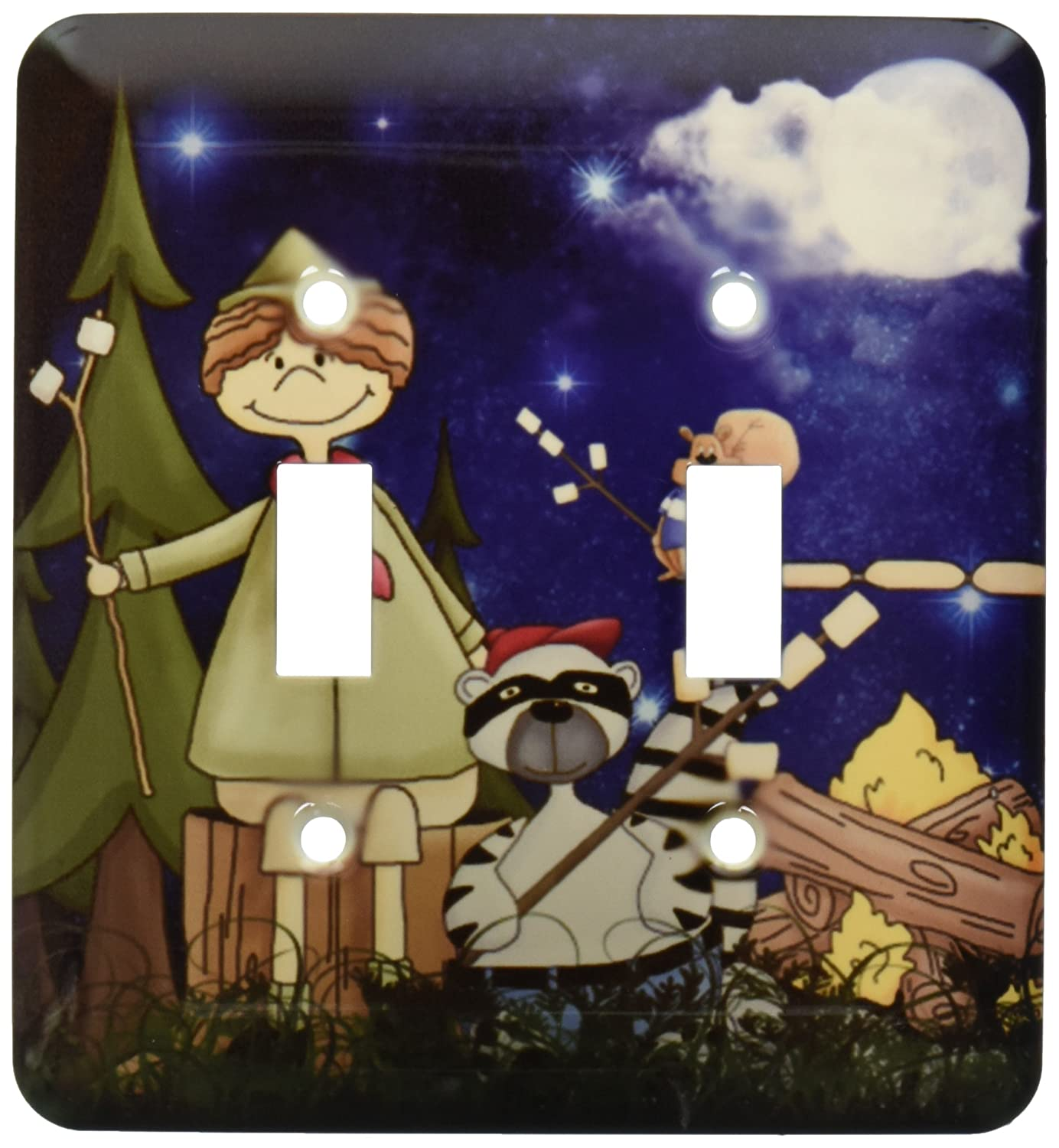 3dRose lsp/_101838/_2 Boy Scout Camper In The Woods With A Squirrel And Marshmallows Double Toggle Switch Multicolored
