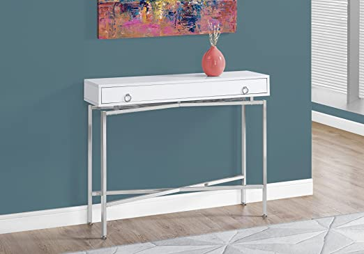 Monarch Specialties Glossy Chrome Hall Console Accent Table 42 L White Furniture Decor
