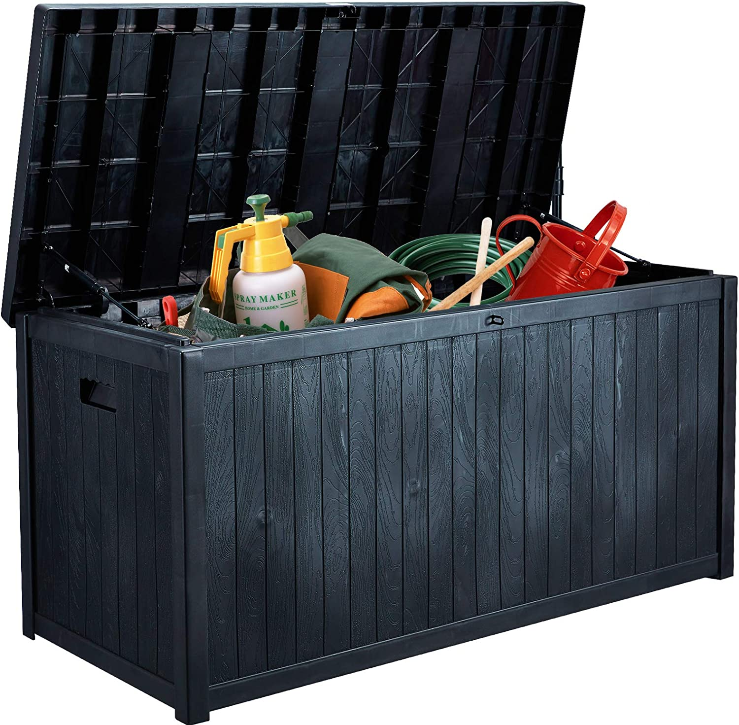 AVAWING Large Deck Box, Outdoor Storage Container with 120 Gallon, Patio Garden Furniture for Garden Tools, Pillows, Pool Toys, Dark Grey