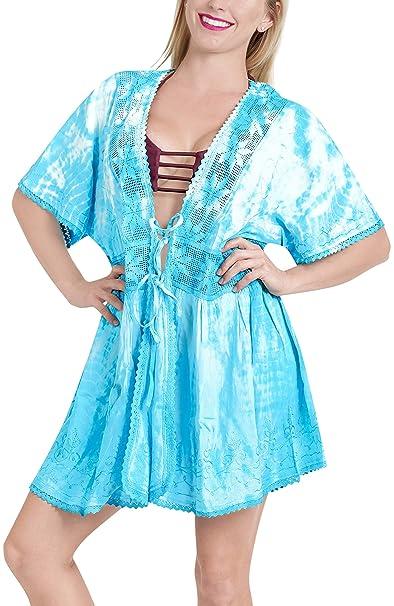 23e33438d8 LA LEELA Women Hand Tie Dye Summer Kimono Rayon Cardigan Bikini Cover up  Midi Beach Robe