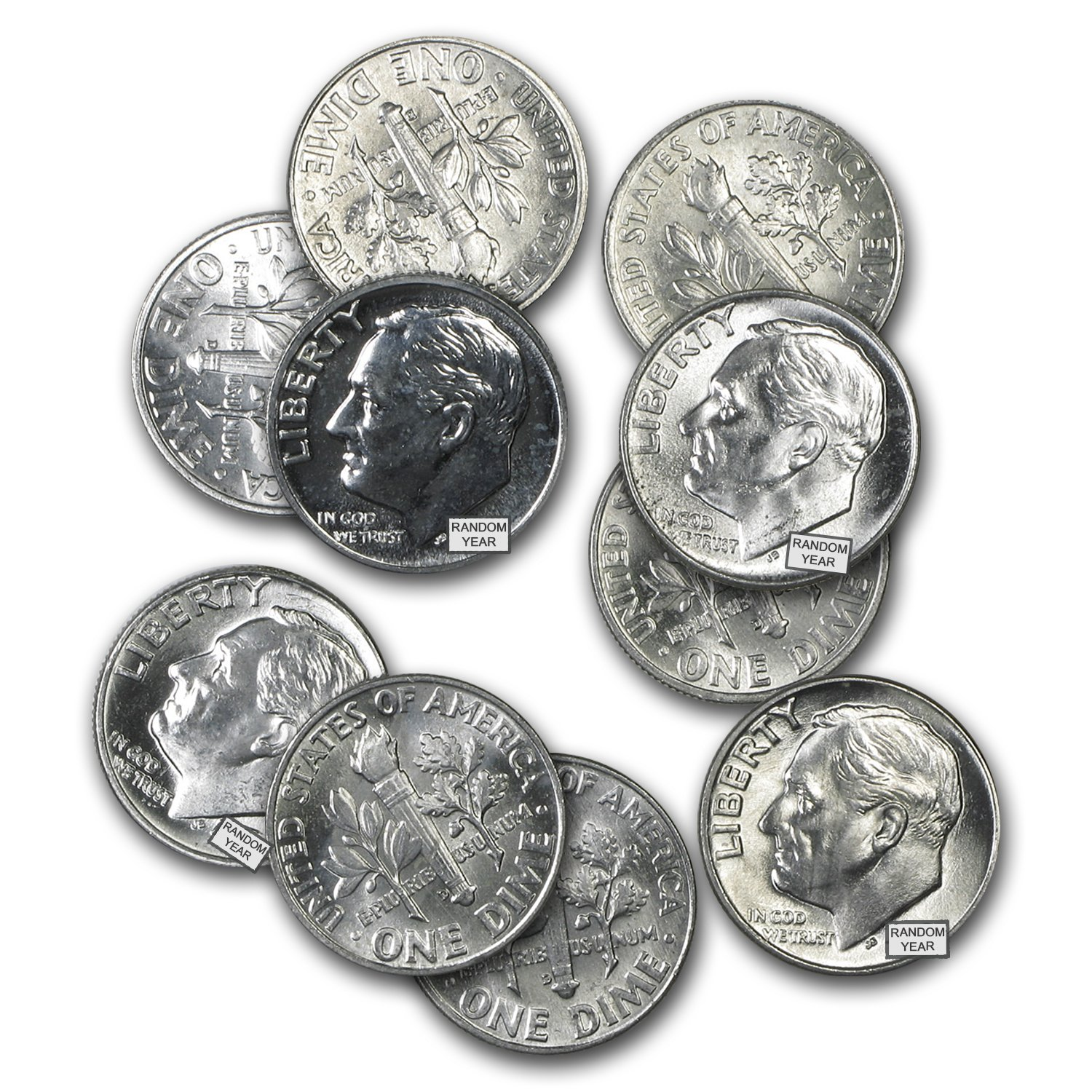 1964 or earlier, 90/% Silver Roosevelt Dimes Bag of 100 coins $10 Face-Value