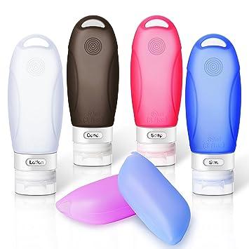 Conjunto de botellas de viaje de silicona, Yarrashop frasco de viaje a prueba de fugas