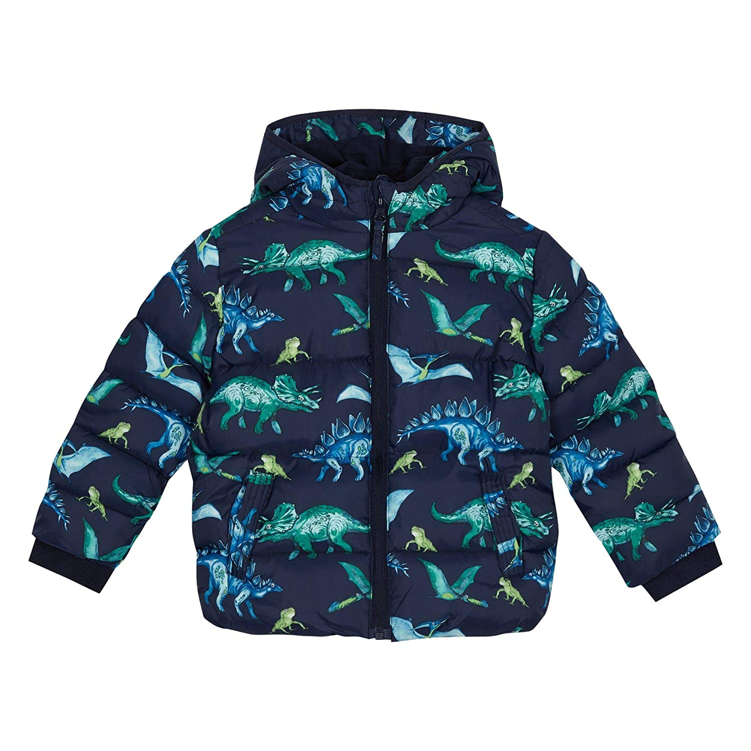 bluezoo Kids Boys' Navy Dinosaur Print Shower Resistant Jacket