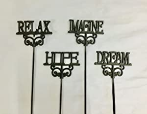 K-rac Cast Iron Garden Stakes Set of 4, Hope, Imagine, Dream, and Relax