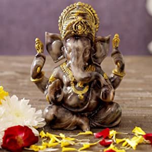 TIED RIBBONS Ganesh Idol for Home Decor Mandir Table Desktop Table Decoration - Ganesha Idol for Gift