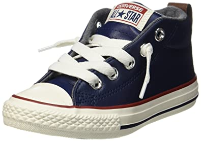 5e6efc881b6b Converse Kids K All Star Street MID Midnight Navy RED Leather Size 2