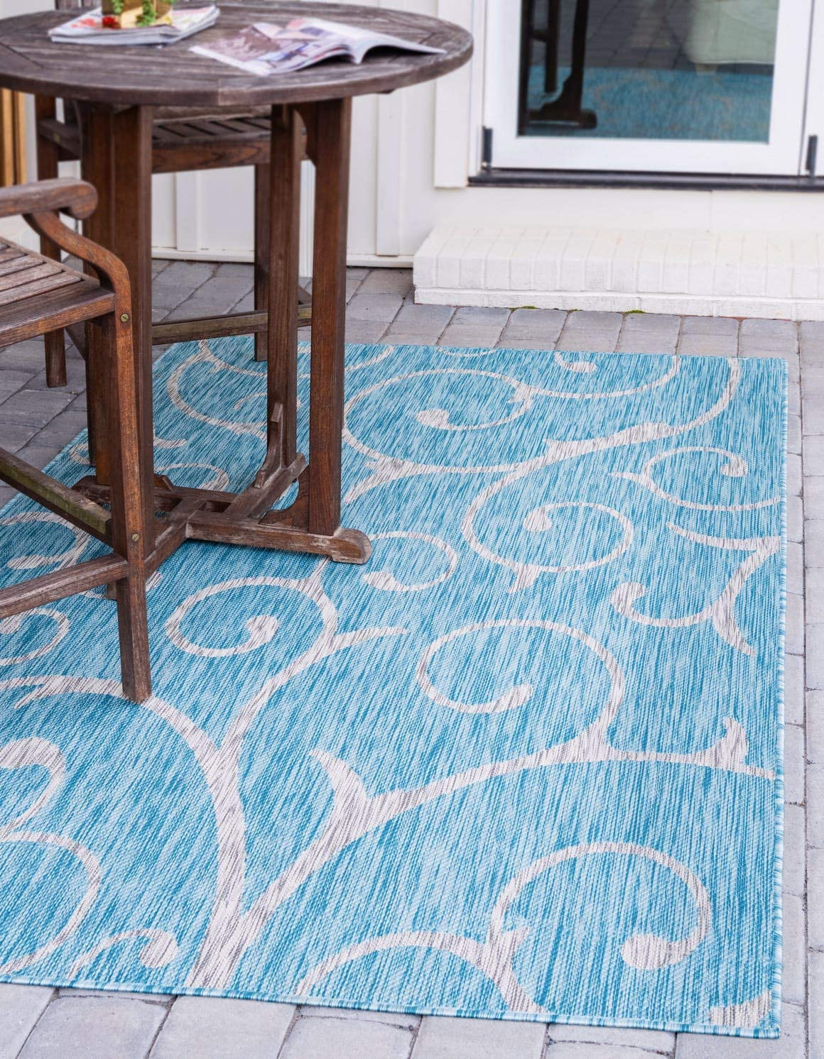 Unique Loom Outdoor Botanical Collection Vine Floral Transitional Indoor and Outdoor Flatweave Light Aqua Area Rug 9 0 x 12 0