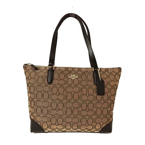 sale coach signature zip tote shoulder handbag d7a95 7e717 a66416e931952