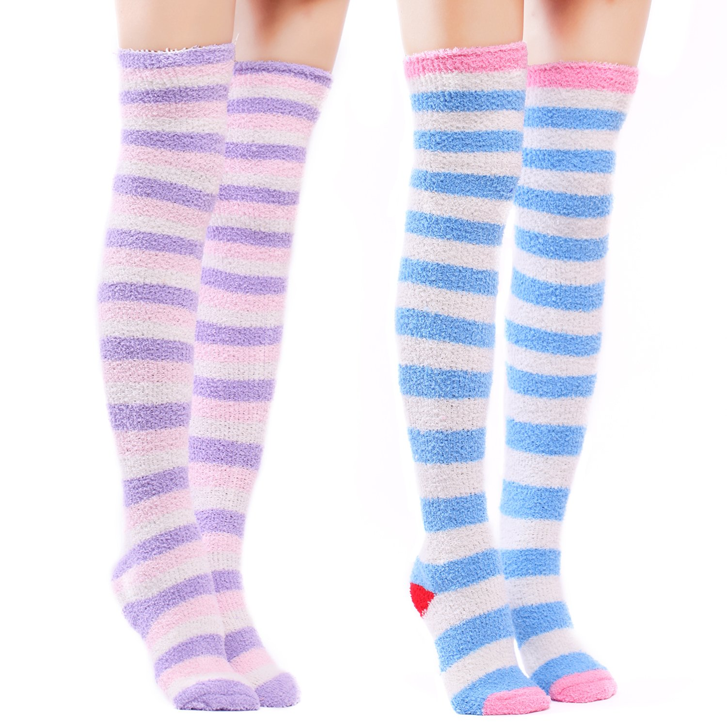Littleforbig Cute Coral Fleece Thigh High Long Striped Socks 2 Pairs LA01-LB-SL604-S201