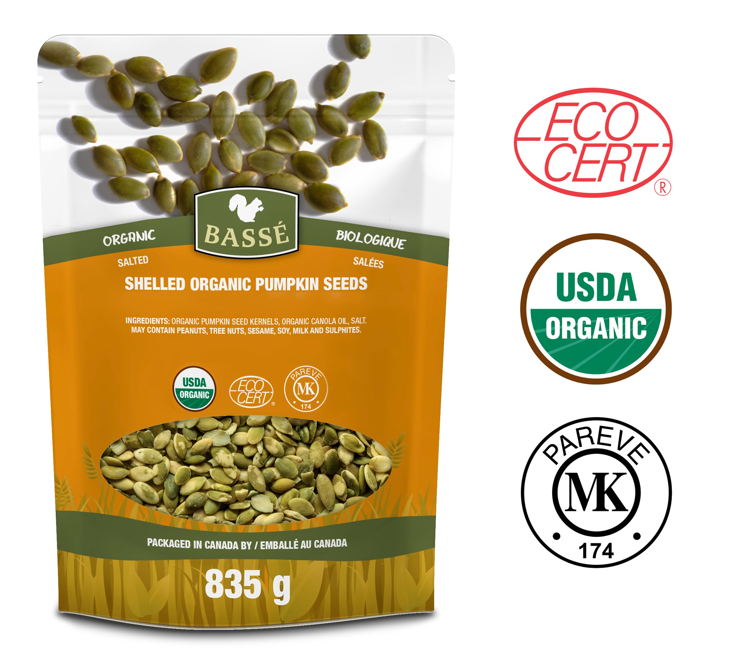 Basse Organic Pumpkin Seeds Kernels Nutritious, Salted, Wholesome, Superfood Snack, 29oz, (835g)