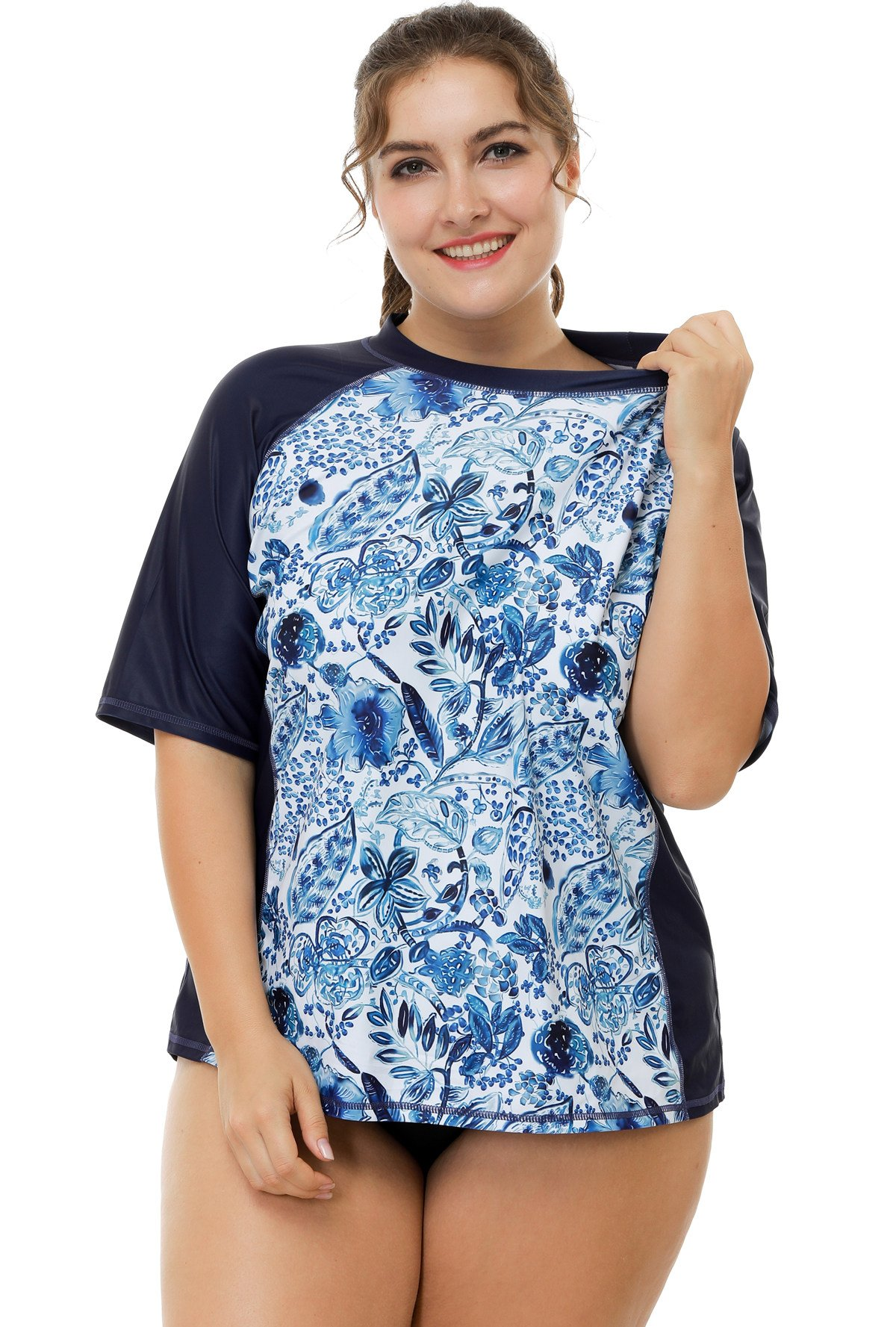 ATTRACO Women Rashguard Swimsuit Floral Plus Size uv Swim Shirts SPF 50 Navy 1x