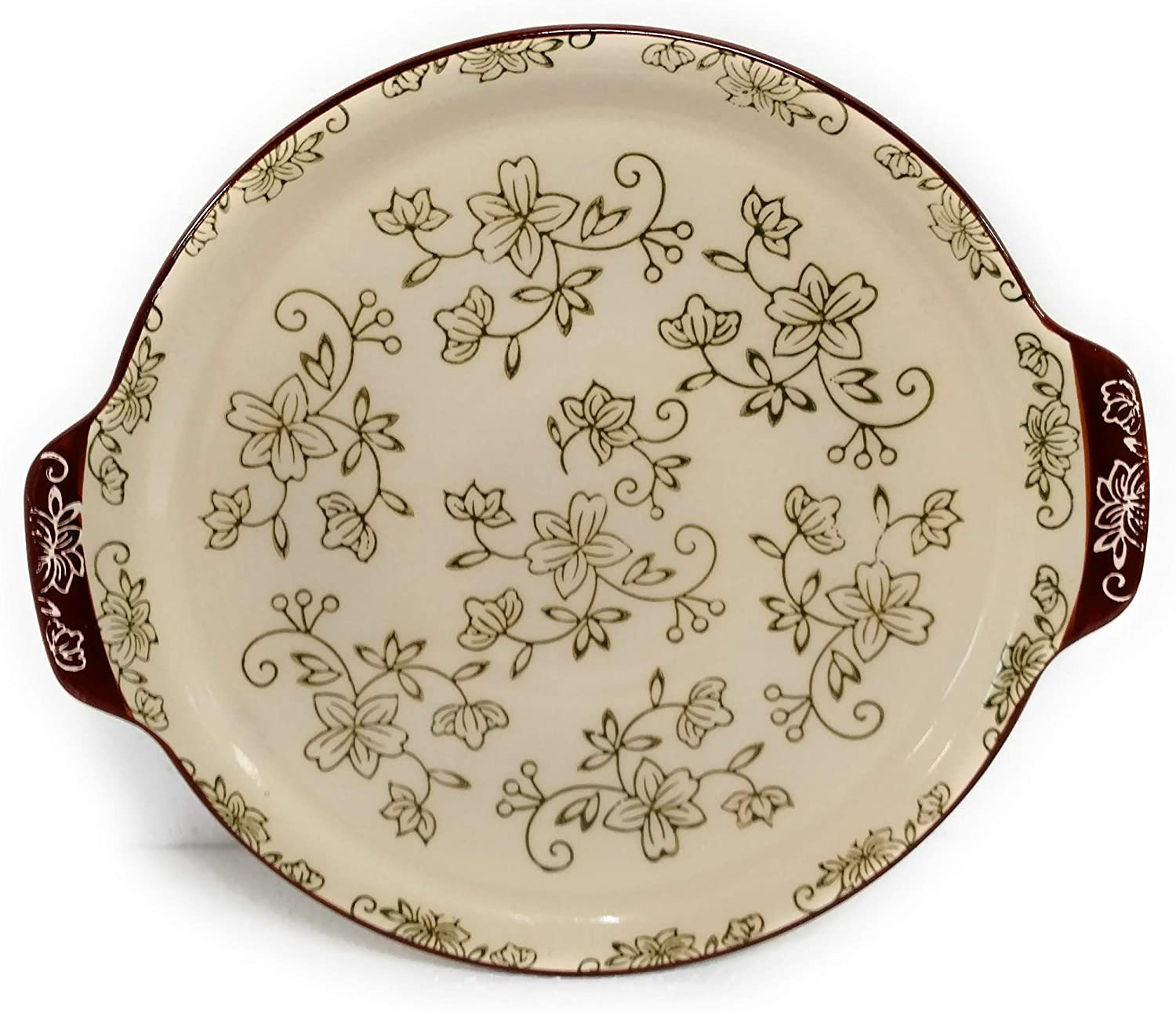 Floral Lace Lime Stoneware Temp-tations Cheese Ball /& Cracker Tray
