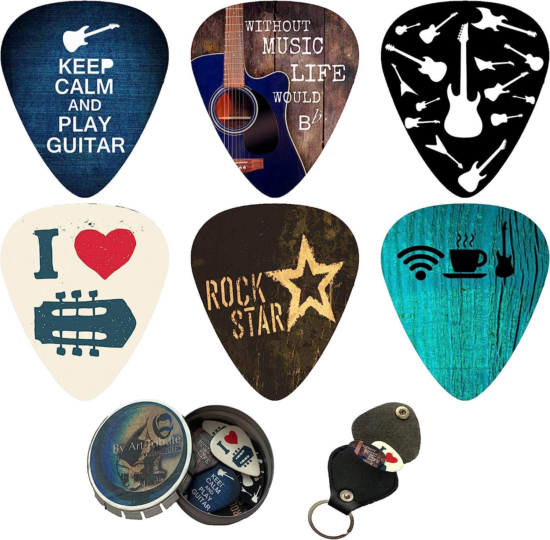 Pack de 12 púas de guitarra con caja y portapúas – Juego de púas de celuloide de dureza media – Set de regalo para guitarristas – Púas para guitarra acústica, eléctrica y bajo