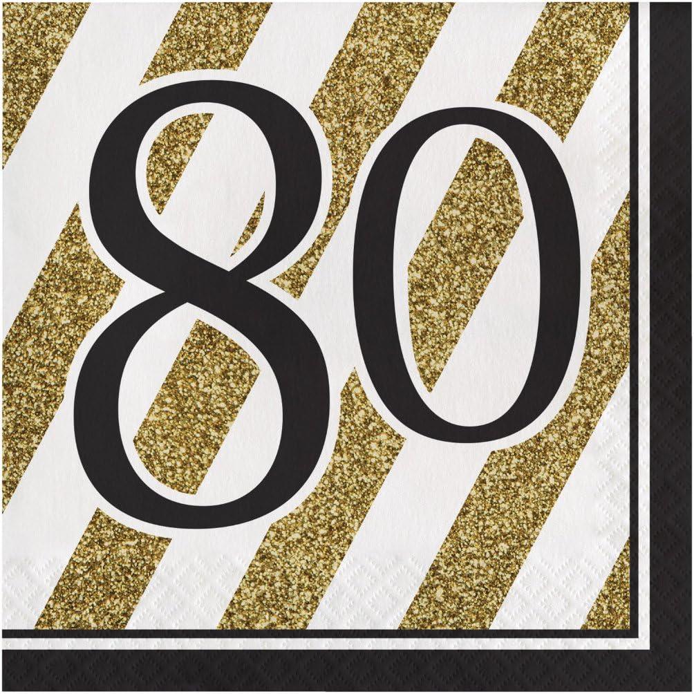 Tovaglioli da pranzo a 16 punti colore: Nero e Oro 80 Creative Converting