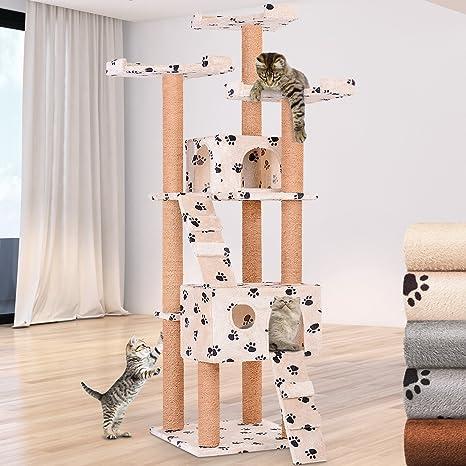 Leopet Rascador Mediano Gato – Árbol para Gatos Árbol Escalada algodón 171 cm Alto Color a
