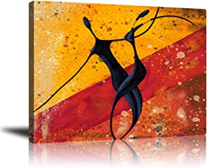 GUYUEHU Abstract Modern Dancers Wall Art Oil Paintings Living Room Decor Canvas Pictures Prints African American Couple Frame Poster Studio Showroom Dorm Bedroom Home Decoration 16x20 inch