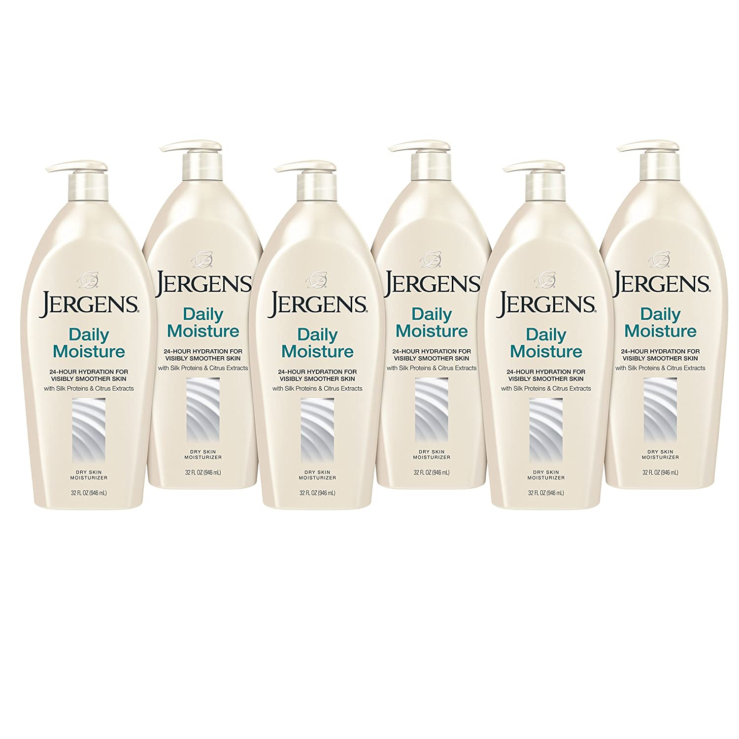 Jergens Daily Moisture Dry Skin Moisturizer, 32 Ounces (Pack of 6)